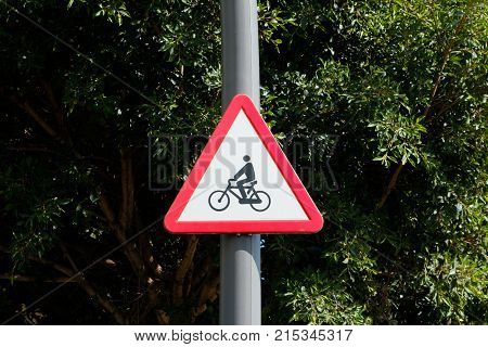 Bicycle Symbol Traffic Sign - Caution, Cyclists Roadsign
