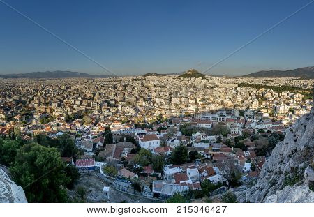Panorama of Athens Greece from the acropolis on a clear day.