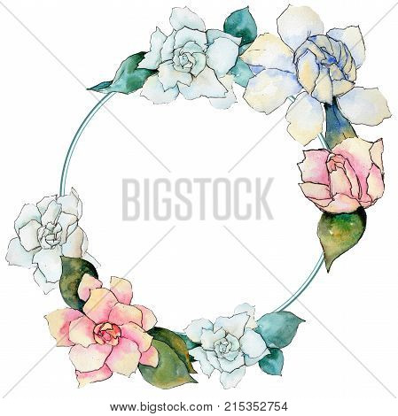 Wildflower gardenia flower wreath in a watercolor style. Full name of the plant: gardenia . Aquarelle wild flower for background, texture, wrapper pattern, frame or border.