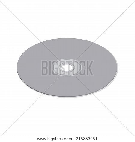 Compact disc isolated on white background. Element for the design of digital devices and computer accessories. Flat 3d isometric style vector illustration.