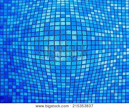 abstract blue mosaic with the effect of of inflating squares.