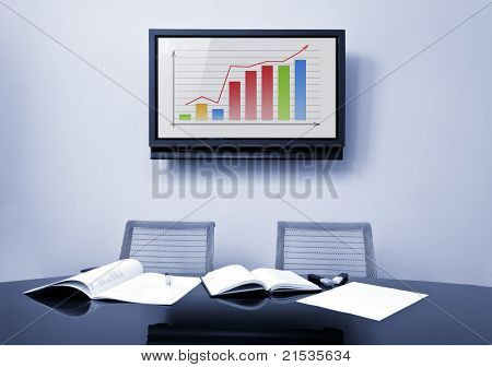 Meeting table and plasma TV screen
