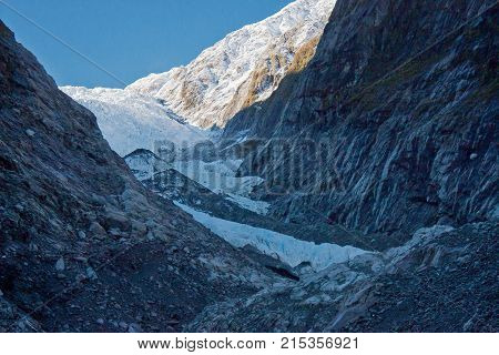 Famous touristic attraction - Franz Josef Glacier in Westland region, in New Zealand