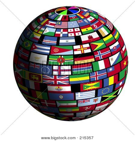 flags of all nations cover the earth surface. poster