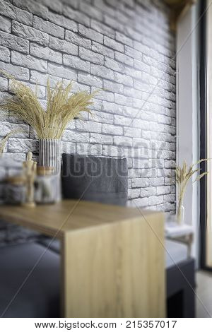 Wheatear rye decorated on wooden table stock photo
