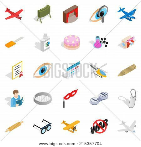 Moving picture icons set. Isometric set of 25 moving picture vector icons for web isolated on white background