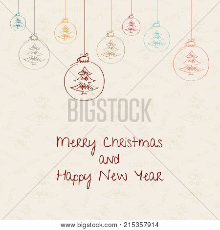 Christmas and New Year. Vector greeting card. Christmas background with Christmas decorations, seamless tiling, great choice for wrapping paper pattern. Hand drawn.