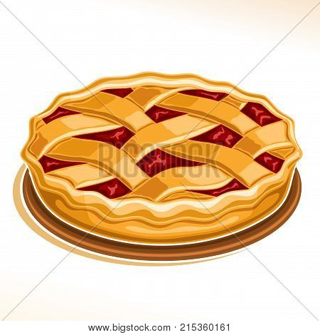Vector illustration of Rhubarb Pie, homemade fresh confectionery with fruit filling on dish isolated on white background, traditional rustic pie dessert with lattice of dough for thanksgiving holiday. poster