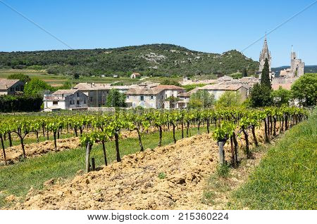 Panoramic view of Aigueze a small village located south of France in the department of Gard of the french region Languedoc-Roussillon