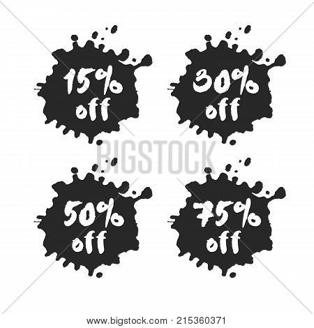 Set of hand written percent discount offers inside black inky blots. Based on ink and brush artwork. Isolated on white background. Clipping paths included.