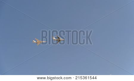 Bombers Tupolev Tu-160 (blackjack) And Il-78 Refueling In The Air Fly In Sky.