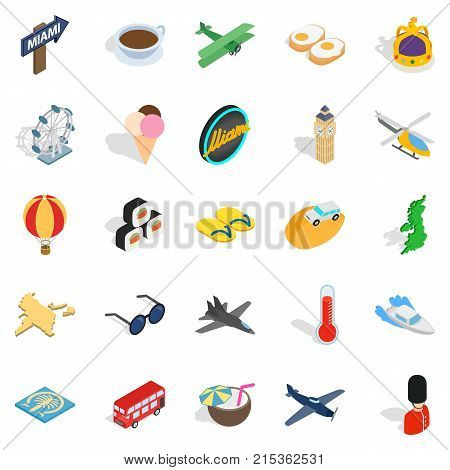 Unique travel icons set. Isometric set of 25 unique travel vector icons for web isolated on white background