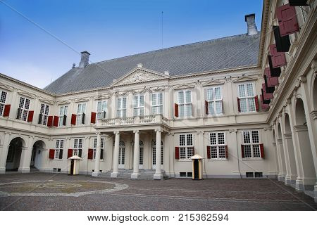THE HAGUE THE NETHERLANDS - AUGUST 18 2015: On the gate of the Noordeinde Palace the working palace of the dutch King Willem-Alexander in The Hague Netherlands on August 18 2015.