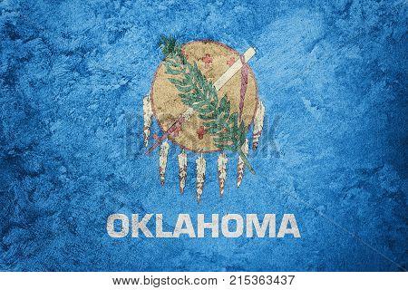 Grunge Oklahoma State Flag. Oklahoma Flag Background Grunge Texture.