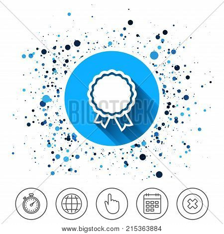 Button on circles background. Award icon. Best guarantee symbol. Winner achievement sign. Calendar line icon. And more line signs. Random circles. Editable stroke. Vector