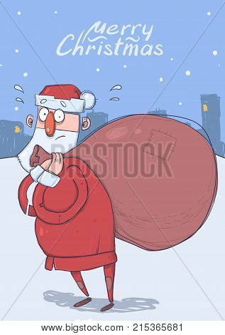 Christmas card of funny confused Santa Claus with big bag of gifts on evening snowy city background. Santa looks lost. Vertical vector illustration. Cartoon character. Lettering. Copy space.