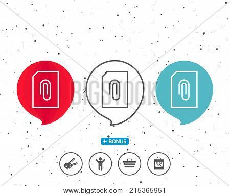 Speech bubbles with symbol. Attach Document line icon. Information File sign. Paper page concept symbol. Upload data. Bonus with different classic signs. Random circles background. Vector