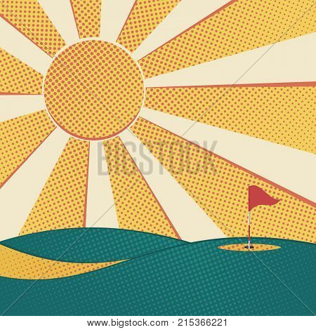 Golf background. Abstract golf course hole flag and sun. Vector illustration.