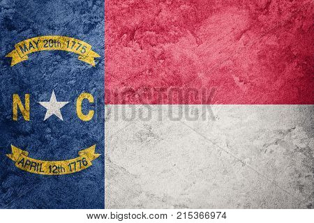Grunge North Carolina State Flag. North Carolina Flag Background Grunge Texture.