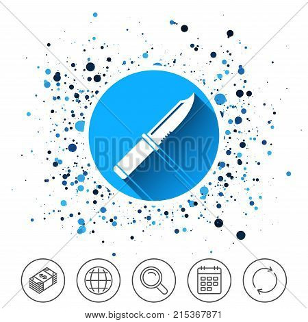 Button on circles background. Knife sign icon. Edged weapons symbol. Stab or cut. Hunting equipment. Calendar line icon. And more line signs. Random circles. Editable stroke. Vector