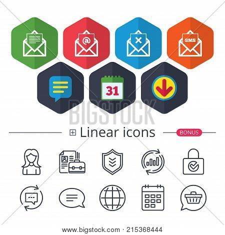 Calendar, Speech bubble and Download signs. Mail envelope icons. Message document symbols. Post office letter signs. Delete mail and SMS message. Chat, Report graph line icons. More linear signs