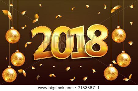 2018 Happy New Year Banner With Numbers On Brown Background. Gold Numbers Lettering Design Greeting