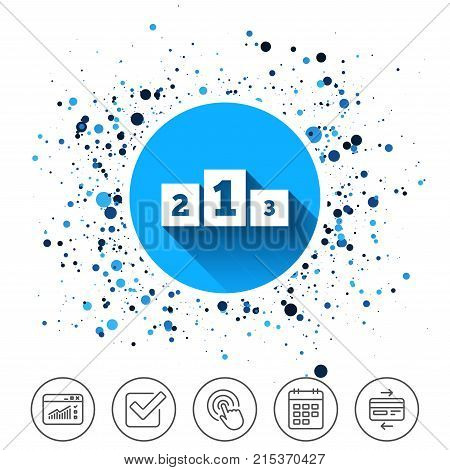 Button on circles background. Winners podium sign icon. Awarding of winners symbol. Calendar line icon. And more line signs. Random circles. Editable stroke. Vector