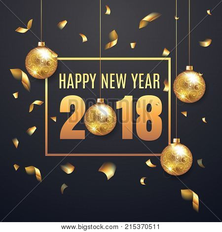 Elegant Happy New Year 2018 Illustation Background With Christmas Ball. Happy New Year Banner With G