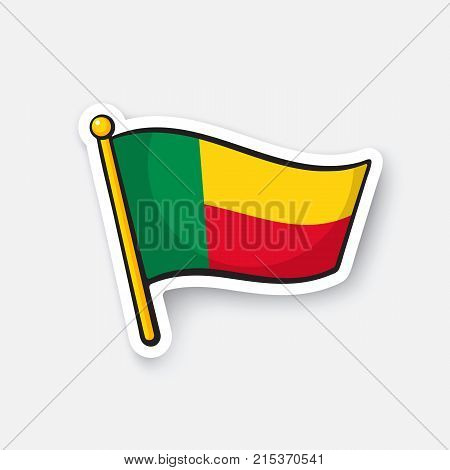 Vector illustration. Flag of Benin. Countries in Africa. Location symbol for travelers. Isolated on white background. Cartoon sticker with contour. Decoration for greeting cards, patches, prints