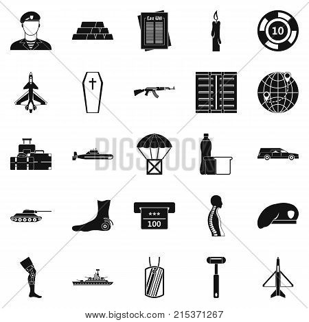 Consequence of war icons set. Simple set of 25 consequence of war vector icons for web isolated on white background