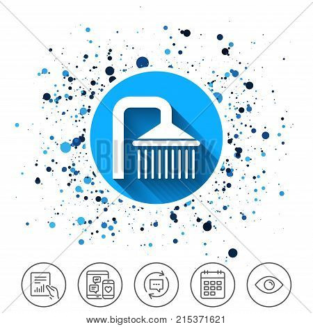Button on circles background. Shower sign icon. Douche with water drops symbol. Calendar line icon. And more line signs. Random circles. Editable stroke. Vector