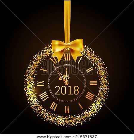 Happy New Year 2018 gold vintage watch. Greeting Happy New Year gold clock with bow and circle glitter and sparkle frame. Vector illustration.