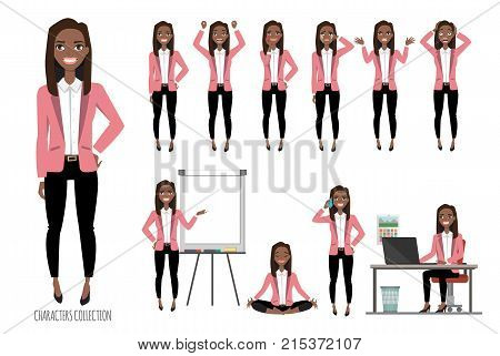 Set of emotions and poses for black african american business woman.Young girl in a cartoon style experiences different emotions and poses.