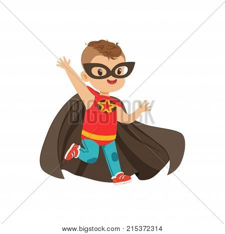 Comic brave kid with trendy haircut in colorful superhero costume, mask and black cloak, running with hands up. Children s game. Child with magical powers. Vector cartoon flat super boy character.