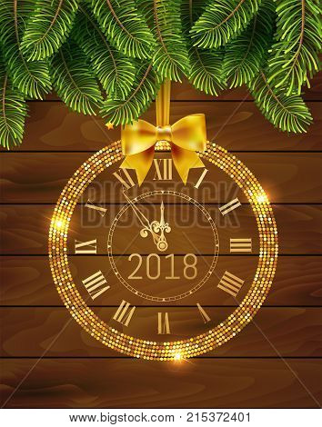 Vector 2018 shiny New Year Clock in gold disco circle frame on christmas wood background with fir tree . Vintage elegant luxury gold clock midnight New Year. Vector illustration EPS 10