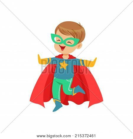 Comic little kid in colorful superhero costume with mask on his face and developing in the wind red cloak, jumping with hands up. Children s game. Halloween costume. Vector flat super boy character.