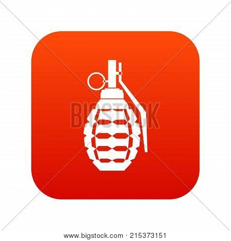 Hand grenade, bomb explosion icon digital red for any design isolated on white vector illustration