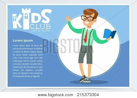 Blue poster for kids club with school boy character reading open book aloud. Entertainment, development center promo. Happy childhood activity concept. Colorful flat style cartoon vector illustration.