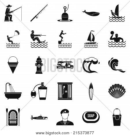 Aquatic icons set. Simple set of 25 aquatic vector icons for web isolated on white background
