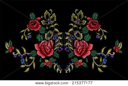 Embroidery floral neckline pattern with rowan berries and roses. Vector embroidered traditional design with flowers for fashion wearing.