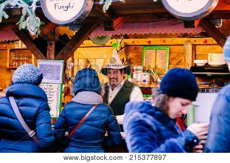 Trento, Alto Adige, Italy - December 17, 2016:  Typical Products At The Traditional Christmas Market
