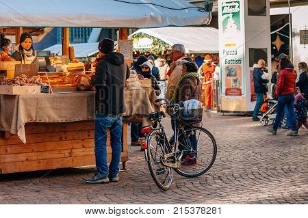 Trento, Alto Adige, Italy - December 17, 2016: Typical Bakery Products At The Traditional Christmas