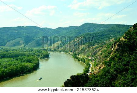 View of the town and Donau river with the castle Dürnstein in the Wachau Krems Austria.