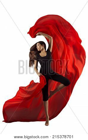 Woman Dance Fabric Modern Sport Ballet Dancer with Red Cloth Dancing Girl Isolated over White background