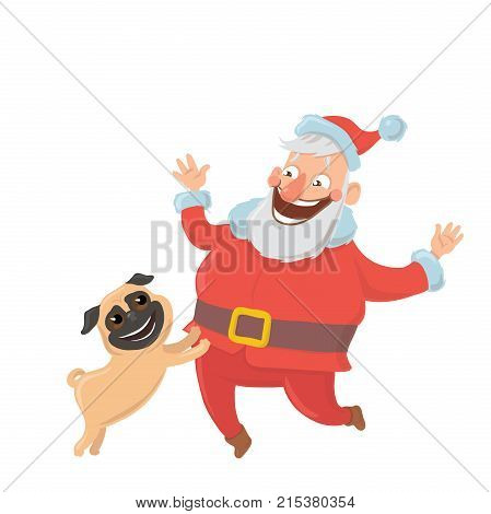 Happy Santa Claus playing with dog. Characters for new year's cards for year of the dog according to the Eastern calendar. Vector Illustration, isolated on white background.