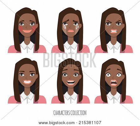 Set of emotions for black african american business woman.Young girl in a cartoon style experiences different emotions.