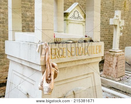 VENICE, ITALY - SEPTEMBER 6, 2013: Gravestone on grave of the Sergei Diaghilev - russian art critic, patron, ballet impresario and founder of the Ballets Russes, is buried on San Michele island, in Venice