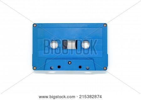 Blue retro cassette tape on white background