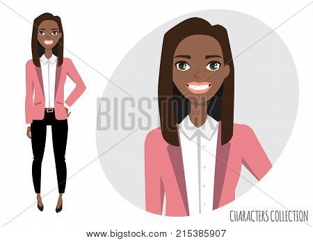 Smiling happy black african american woman. Modern trendy woman in casual office style.