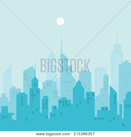 City Skyline Vector Illustration. Blue City Silhouette.